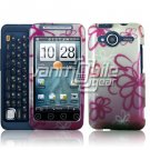HTC Evo Shift 4G Pink Flowers Doodle Design Hard 2-pc Plastic Case + Car Charger