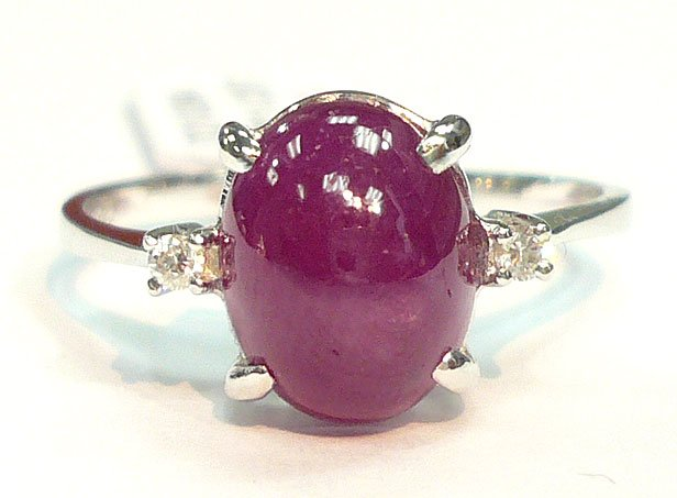 18K White Gold Ruby 2.57cts. Center Stone & Diamond Side Stone Ring