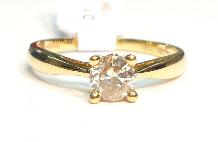 18K Yellow Gold 0.49 Diamond Solitare Ring