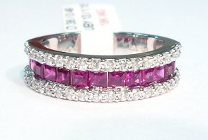 18K White Gold 0.49cts. Diamond & 1.18cts. Ruby Ring