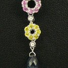 18K White Gold 0.01cts Diamond, 0.37cts Pink & Yellow Sapphire, 0.87cts Briolette Pendant