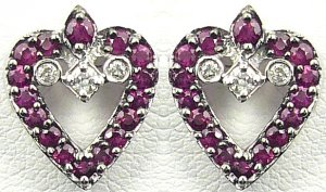 18K White Gold 0.09cts Diamond & 0.57cts. Ruby Earring