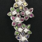 18K White Gold 0.28cts Diamond & 0.69cts Blue, Green, Pink, Yellow Sapphire Pendant