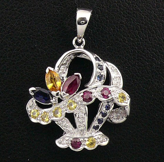 18K White Gold 0.07cts Diamond & 1.19cts Orange, Blue, Red, Yellow Sapphire Pendant