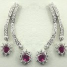 18K White Gold 2.23cts Diamond & 3.40cts Ruby Earring