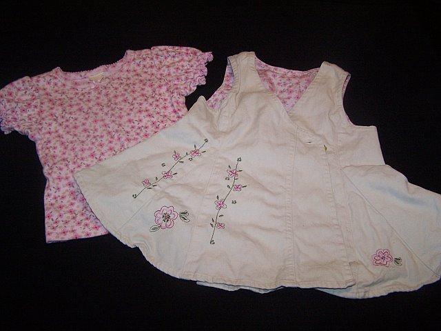 Faded Glory Khaki Wrap around dress w/matching shirt 12m
