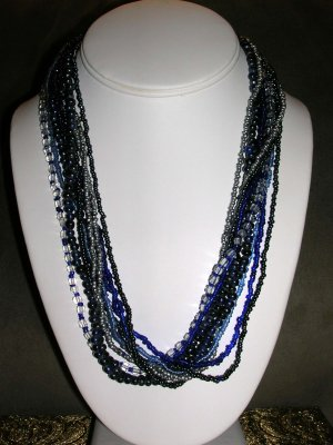 Multiple blue beaded necklace