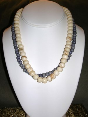 Purple and ivory beaded necklace