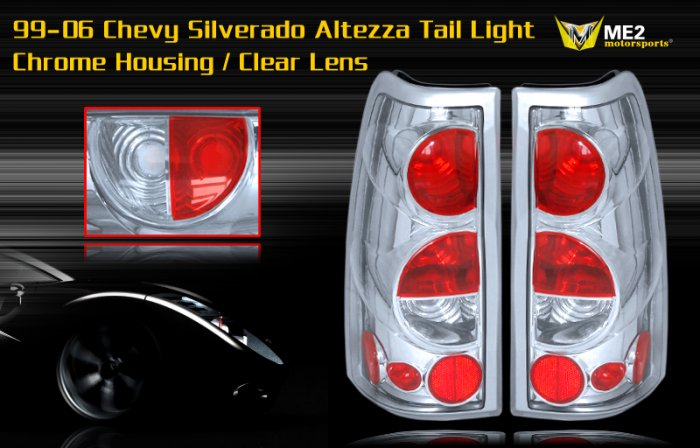 99-06 CHEVY SILVERADO ALTEZZA TAIL LIGHT CHROME CLEAR