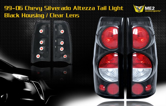 99-06 CHEVY SILVERADO ALTEZZA TAIL LIGHT BLACK/CLEAR