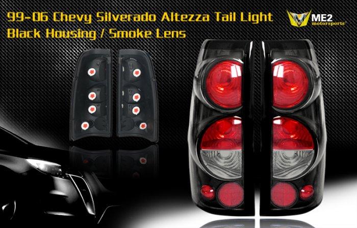 99-06 CHEVY SILVERADO ALTEZZA TAIL LIGHT BLACK/SMOKE