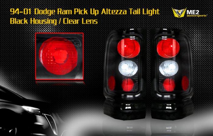 94-01 DODGE RAM ALTEZZA TAIL LIGHT BLACK CLEAR