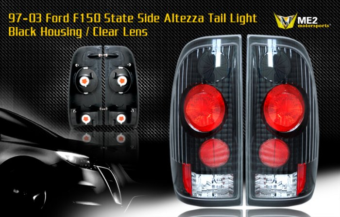 97-03 FORD F150 SIDE ALTEZZA TAIL LIGHT BLACK CLEAR