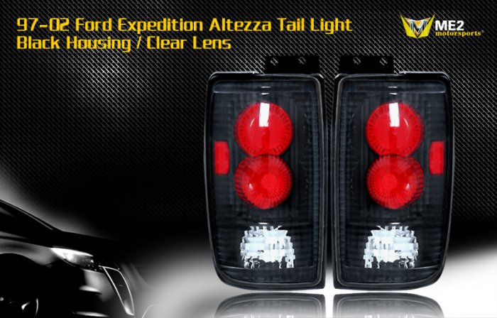97-02 FORD EXPEDITION ALTEZZA TAIL LIGHT BLACK CLEAR