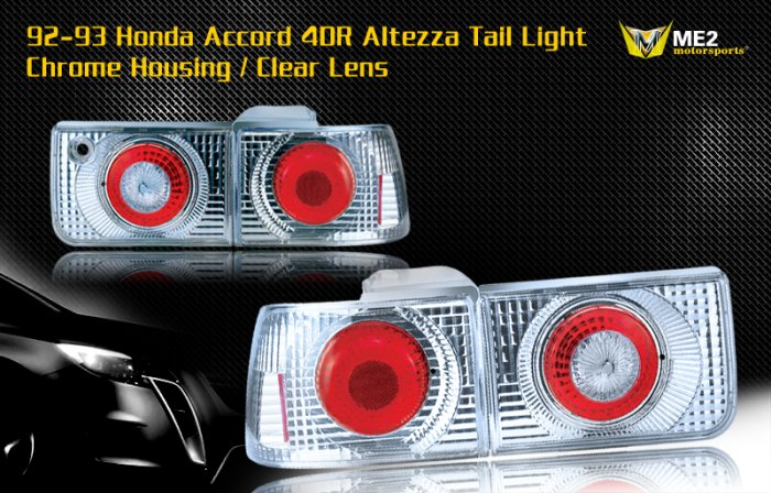92-93 HONDA ACCORD 4DR ALTEZZA TAIL LIGHT CHROME CLEAR