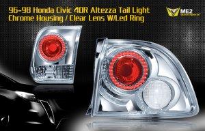 96-98 HONDA CIVIC 4DR ALTEZZA TAIL LIGHT LED RING CLEAR