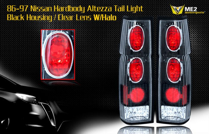 86-97 NISSAN HARDBODY ALTEZZA TAIL LIGHT BLACK CLEAR
