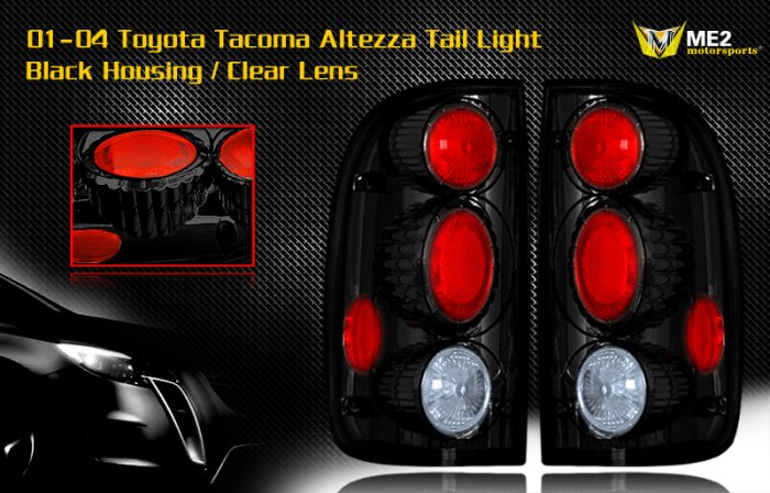 01-04 TOYOTA TACOMA ALTEZZA TAIL LIGHT JDM BLACK CLEAR
