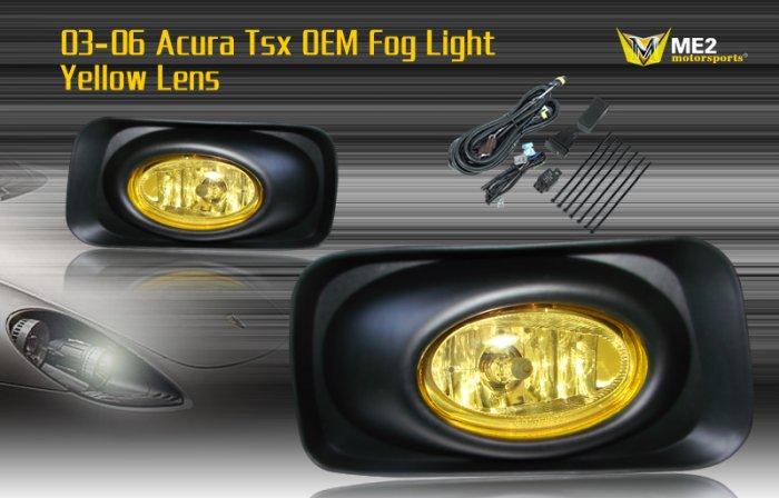 03-06 ACURA TSX JDM FOG LIGHT LAMPS YELLOW LENS