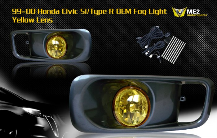 99-00 HONDA CIVIC SI/TYPE R JDM FOG LIGHT YELLOW