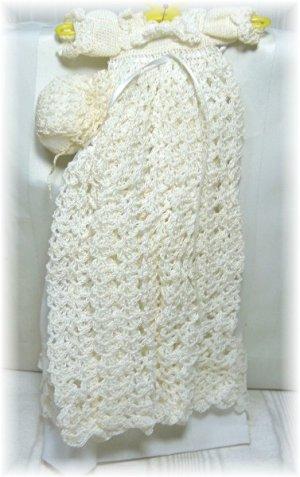 Ivory Crocheted Christening Gown for Very Small Doll:  NIP, Dress, Slip, Panties, Cap NIP