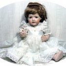 "20"" All-porcelain Handcrafted Doll:  Brown Eyes, Dk Blonde Hair, White Dress"