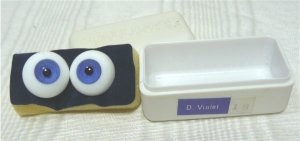 Tallina's Glass Doll Eyes with Case:  Deep Violet, Sz 18mm, NIP