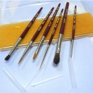 Set of 6 Evans Paint Brushes for Fine Painting Dolls: Sable, English Made