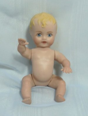 "All Porcelain Tiny Baby Doll:  Painted Hair and Eyes,  Sits or Lies, 6"" Tall, Ready to Dress"