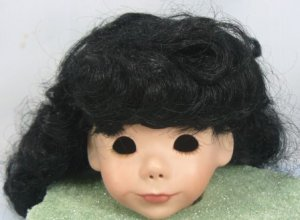 Tallina's Long Black Doll Wig, Sz 10,  Bangs, Waves and Curls
