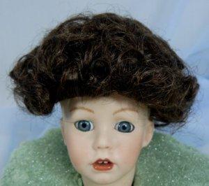 All-Over Curls in a Tallina Doll Wig, Sz 7, Dark Brown, Cute!