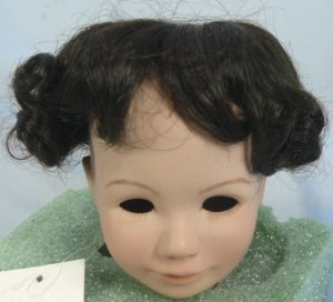 Dollspart Smooth Doll Wig with Curly Edge, Sz 12, Dark Brown, Almost Black