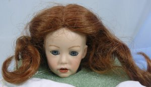 Dollspart 01017 Sz 8 Doll Wig:  Auburn Center Part with Curly Ends