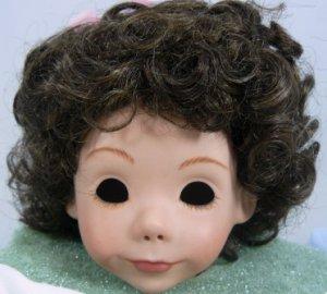 Tallina's Dark Brown Doll Wig W-63:  Sz 12,  Short Flippy Curls, Bangs, and Ribboned Topknot
