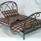 **Great Antiqued Brass Bed, Plaid Bedding, Town Square Miniatures NIB Piece, NOS
