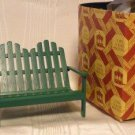 Double Lawn Chair and Matching Table in Green, Town Square Miniatures, Great Set, NIB, NOS