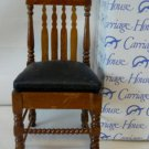 Carriage House Miniatures' Walnut Toned Straight Back Chair, Padded Seat w/Compartment, NOS, NIB