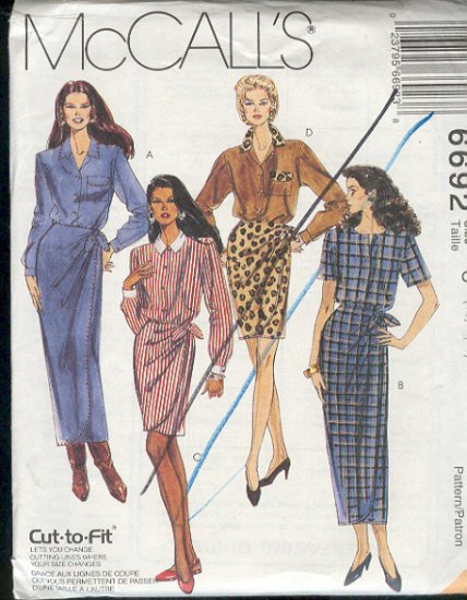 McCall's Sewing Pattern 6692 Mock Wrap Dress in two lengths Size 10 12 14