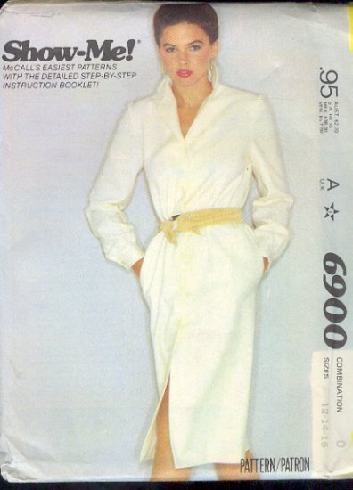 McCall's Sewing Pattern 6900 Classic belted shirtwaist dress Size 12 14 16