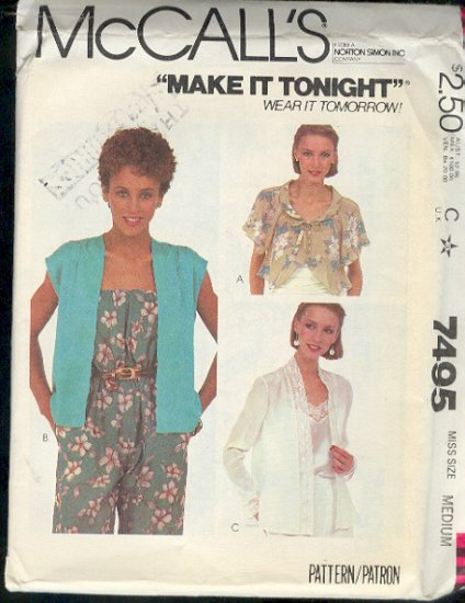 McCall's Sewing Pattern 7495 Pretty Cover Ups Size 10 12