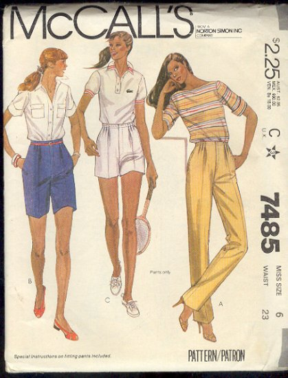 McCall's Sewing Pattern 7485 Pants and Shorts Size 6