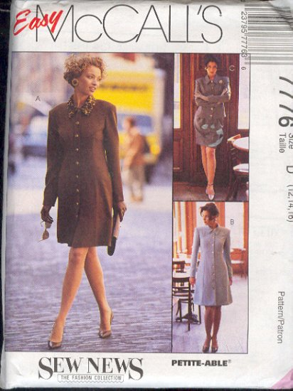 McCall's Sewing Pattern 7776 Ensemble, Dress, Skirt, Jacket, Size 12 14 16