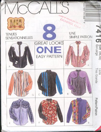 McCall's Sewing Pattern 7955 Man's Shirt, 8 Variations, Size 46 48