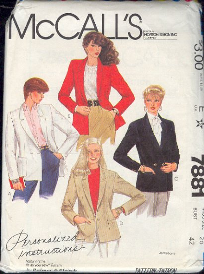 McCall's Sewing Pattern 7881 Blazer by Palmer & Pletsch Size 20