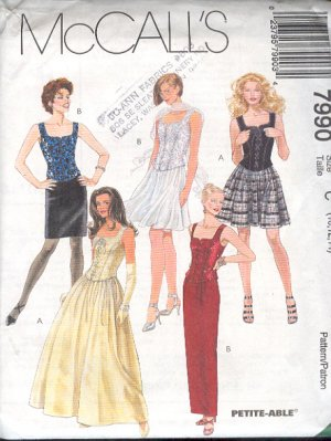 McCall's Sewing Pattern 7990 Prom Dresses, Formals, Size 10 12 14