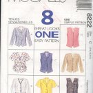 McCall's Sewing Pattern 8222 Wesket Top in eight versions, Size 10 12 14