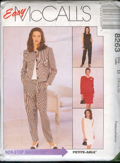 McCall's Sewing Pattern 8263 Ensemble: Dress, Top, Pants, Jacket, Skirt, Size 12 14 16