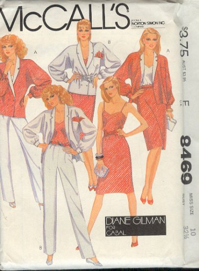 McCall's Sewing Pattern 8469 by Diane Gilman, Jacket, Camisole, Skirt, Pants, Size 10