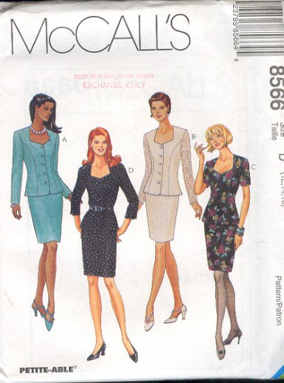 McCall's Sewing Pattern 8566 Suit, Unlined jacket and skirt, Size 12 14 16