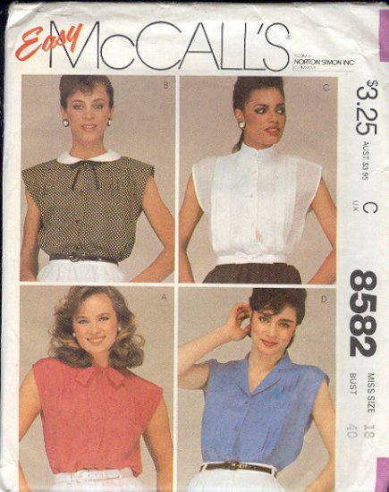 McCall's Sewing Pattern 8582 Sweet summer blouses, Size 18